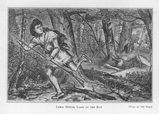 Lewis Wetzel loads on the run.  (From an Old Print)